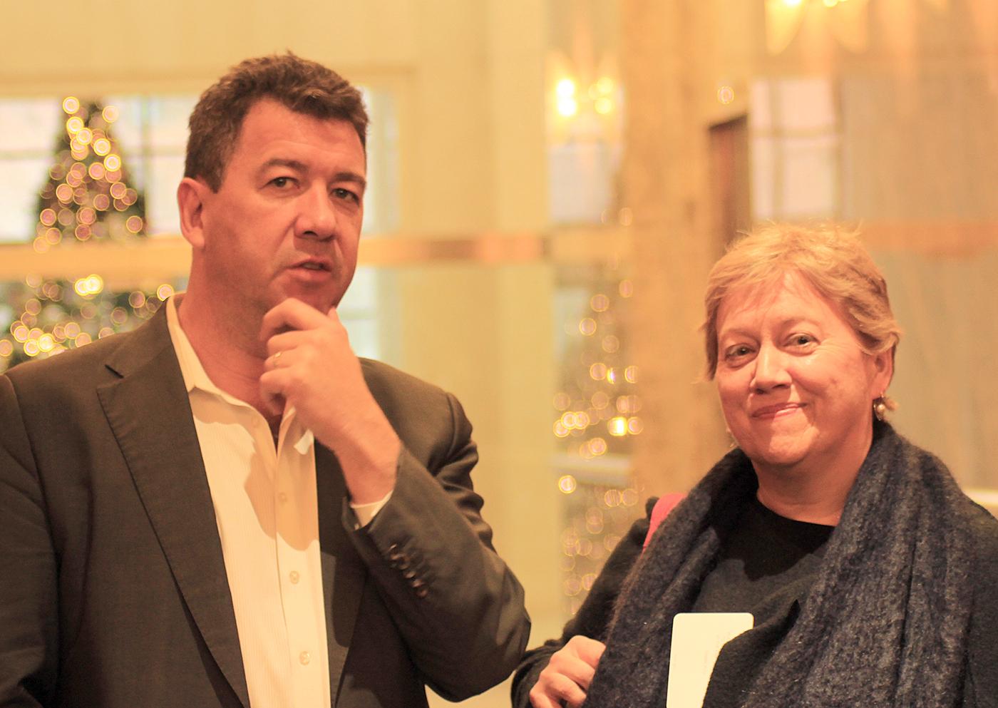 BBC's Nick Bryant with Monash journalism's Colleen Murrell.