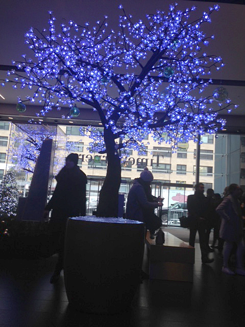 The festive entrance of the CNN building at Columbus Circle in New York.