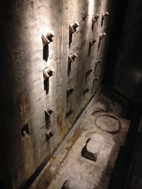 A section of the basement retaining wall from the former Twin Towers in the 9/11 Museum.