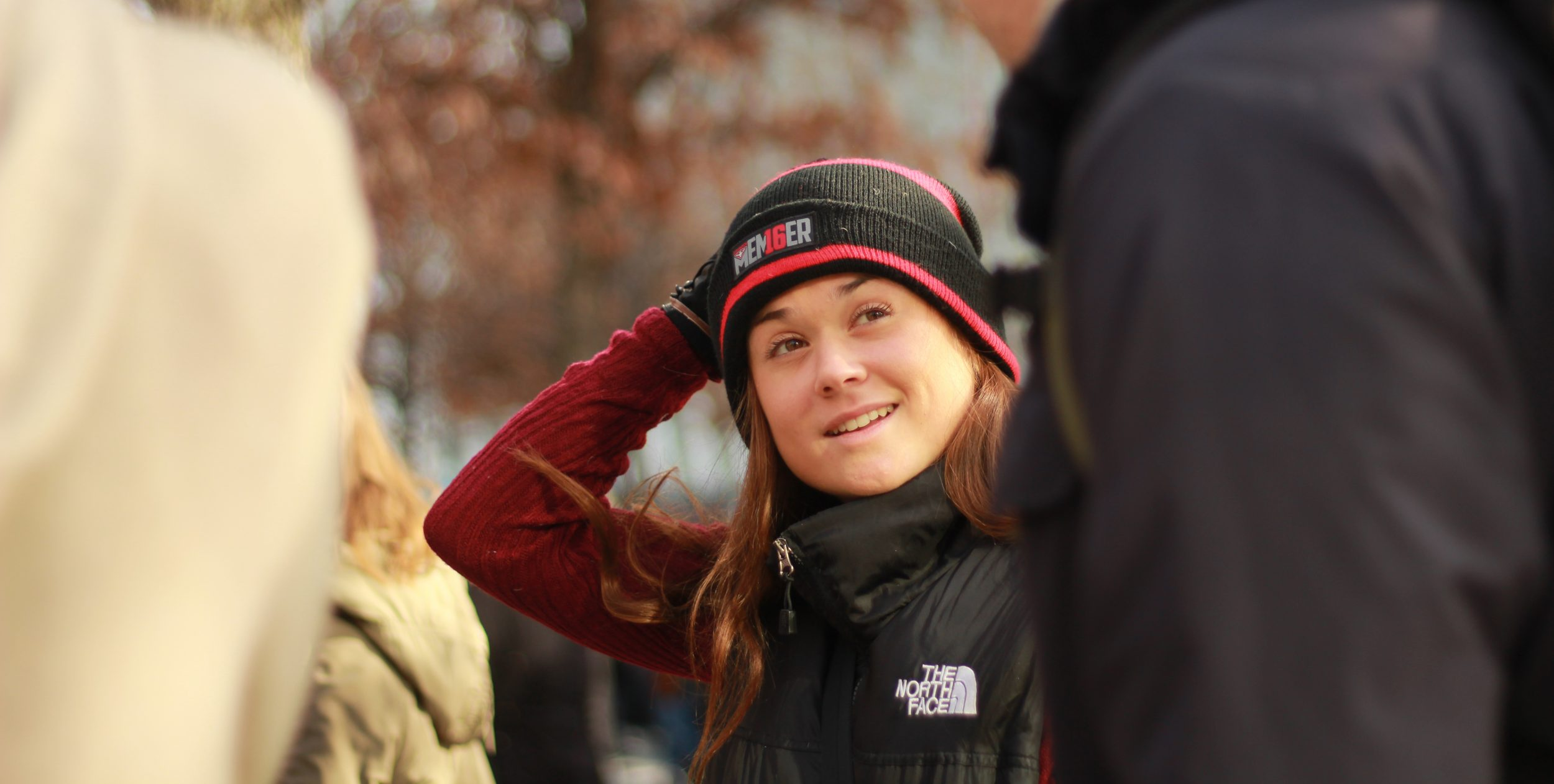 Monash journalism student Sophie Griffiths rugs up for the wintry conditions in New York City.