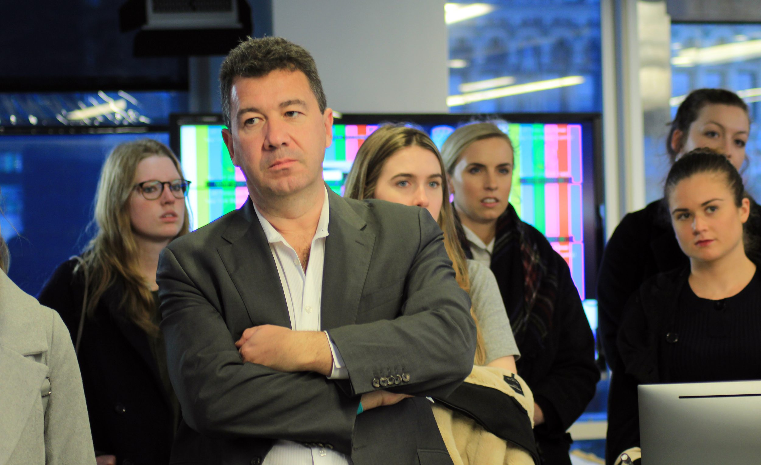 BBC's New York correspondent Nick Bryant on a newsroom tour of the BBC and AP offices near the World Trade Center.
