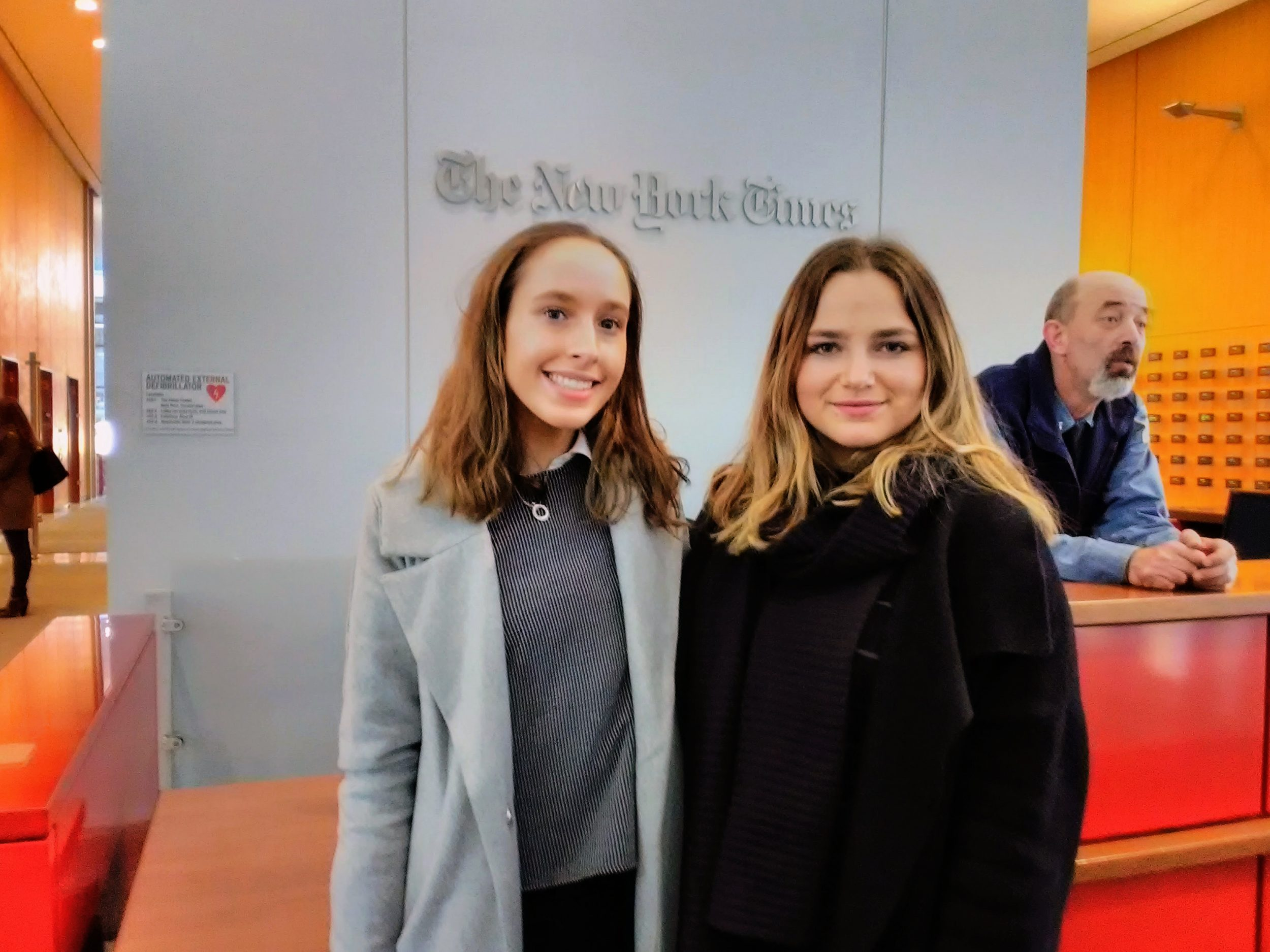 Monash journalism students Grace Kalac and Sophie Welsh enjoy a visit to the New York Times in the heart of midtown, New York.